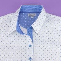 Grenouille Ladies Long Sleeve White with Blue Polka Dot Shirt